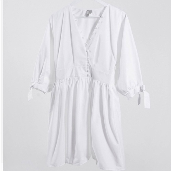 ASOS white mini dress with buttons and tie sleeves